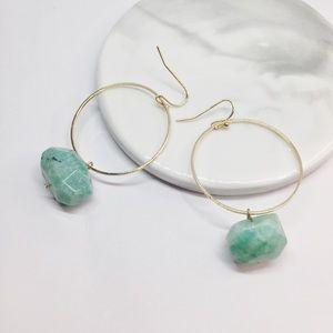 NWT Anthropologie Hoop Green Stone Earrings